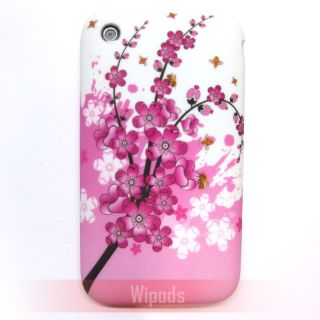 Pink Cherry Blossom Silicone Soft Back Case Cover for apple iPhone 3Gs