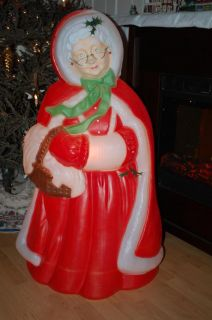 Vintage Christmas Mrs Santa Claus Blow Mold Light Up Outside Yard