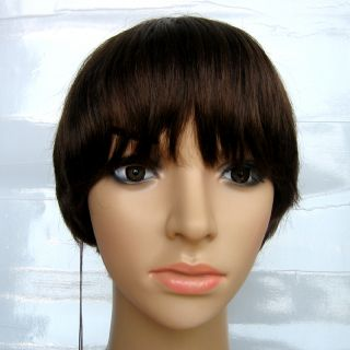 100 Human Hair Short Bob Wigs Skin Center Part Wig in Dark Brown