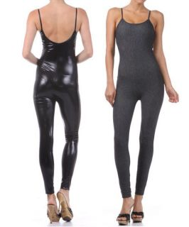 New Solid Fitted Jumpsuit Bodysuit Full Length Metallic Shiny Black