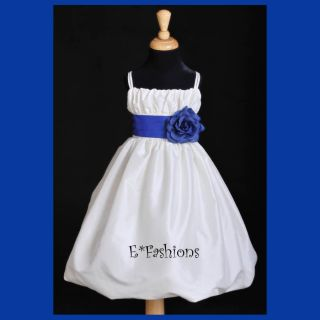 Ivory Royal Blue Wedding Flower Girl Dress 2 4 6 8 10