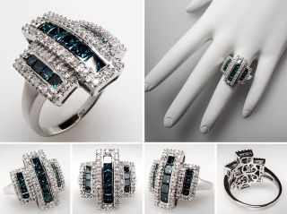 White & Blue Diamond Cocktail Ring 14K White Gold skuyr2008
