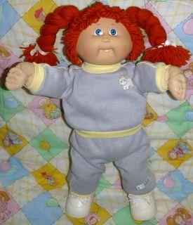 Cabbage Patch Kids Girl Doll Red Hair Blue Eyes Clothes Outfit