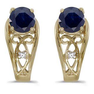20ct Blue Sapphire Diamond Earrings 14k Yellow Gold