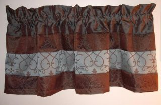 Window Valance Curtains Drapes Blue Brown Tone S