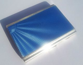 Deco Solid Silver Blue Guilloche Enamelled Cigarette Card Case