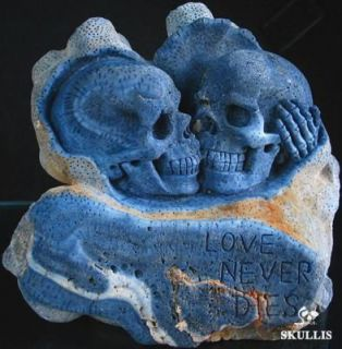 Blue Sponge Coral Skull Sculpture Love Never Dies