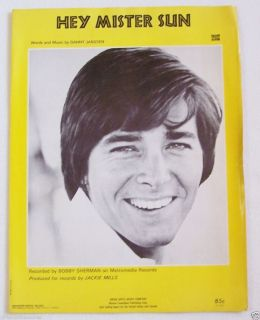 Bobby Sherman Sheet Music Hey Mister Sun Teen Idol Pop Star Piano