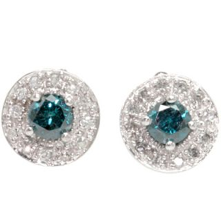 Delicate Genuine Blue White Diamond Earrings 0 66 CTW in Solid 14k