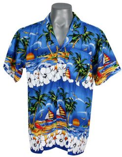 HW749 Hawaiian Surf Beach Blue Shirt Palm Island XXXL