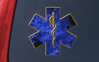 Medium 6 Star of Life Blue Flames Sticker Decal Ambulance EMT Fire
