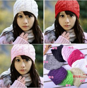 Cute Warmer Crochet Knitting Wool Plait Beanie Cap Hat