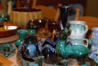 large blue mountain pottery harvest gold bowl or flower pot