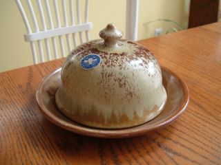 Blue Mountain Pottery Canada Drip Glaze Art Pottery Domed Butter Dish