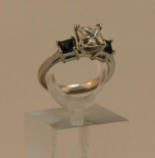 BLUE NILE Princess Cut Diamond Ring (1.25 carats) Blue Sapphires