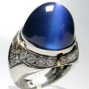 Natural Burma Blue Star Sapphire & Diamond Ring Solid Platinum AGTA