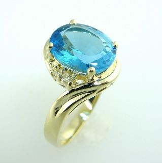 Estate Jewelry 14k Gold Swiss Blue Topaz Diamond Ring
