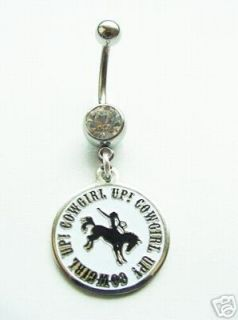 Text Horse Cowboy Navel Belly Button Ring Body Jewelry Piercing