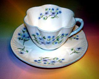 Shelley Blue Rock Dainty Shape Tea Cup and Saucer Set