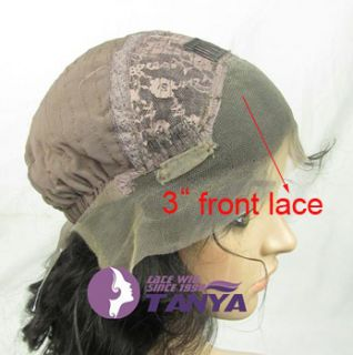 Full Front Lace Wig 16 Loose Body Wave Indian Remy Human Hair 1B 30