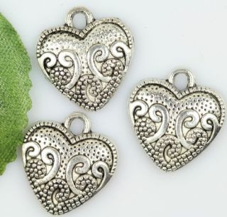 Wholesale lot 25pcs tibetan silver heart charms pendants 16.5mm