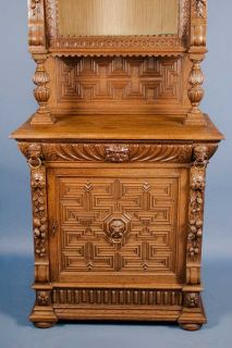 Antique Carved Oak Single Door Bookcase Cabinet Display