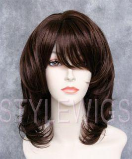 Medium Wavy Full Volume Dark Brown Light Auburn Mix Wig Timv M4 30 1c