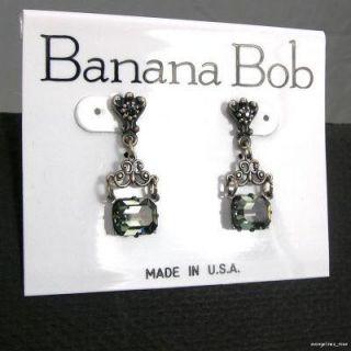 Banana Bob Vtg Swarovski Black Diamond Crystal Silver Ox Dangle