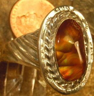 New Mens Sterling Silver Jewelry 7 28 cts Fire Agate Gemstone Ring