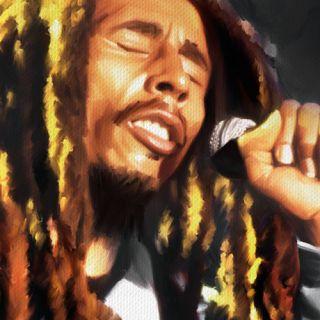 Bob Marley Portrait CD Reggae Music Painting Canvas Art Giclee Print F