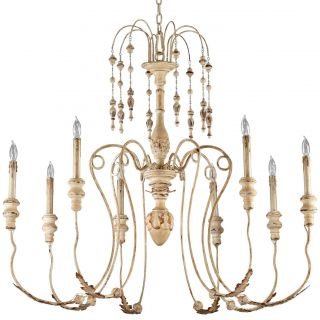 Country Antique White 8 Light Chandelier Wrought Iron Wood