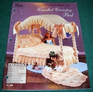 Pattern Book Fashion Doll Collector Canopy Bed Sheets Afghan 1
