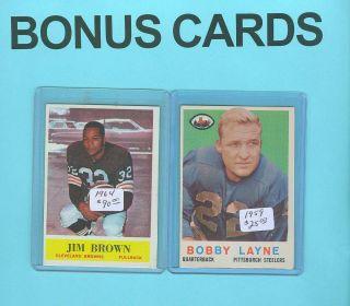 Bonus Cards 1964 Jim Brown 1959 Bobby Layne 1982 Joe Montana 1 Jersey