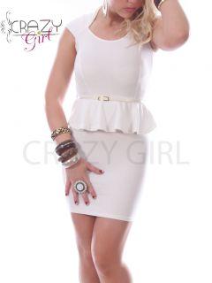 New Womens Ladies Peplum Bodycon Frill Cap Sleeve Party Dress Skirt