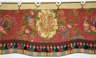 Custom Scalloped French Country Valance Curtain Waverly Rooster Red