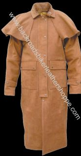 Mens Brown Leather Biker Duster Trench Coat Jacket