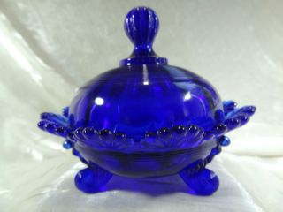 Klondyke Pattern Fluted Scrolls Candy Dish Cobalt Blue Glass