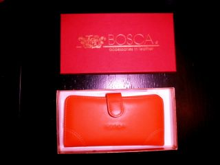 Bosca Tangerine Leather Credit Card Wallet New in Box