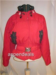 BOGNER WOMENS SKI JACKET RED BLACK EMBROIDERY SZ 10 GORGEOUS