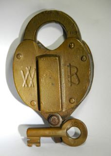 Vintage Antique Brass Wilson Bohannon Padlock Lock Key Old Skeleton