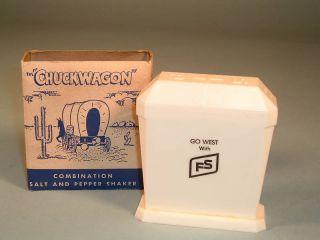 CHUCK WAGON SALT & PEPPER SHAKER COWBOY WAGON COMBINATION BOX SET