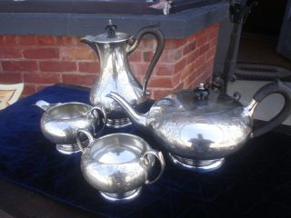 Sterling Silver Tea Serving Four Pieces With Hot Water Pot Hallmarks