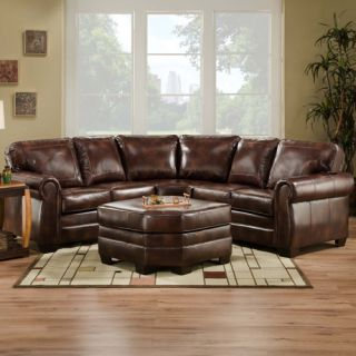 Bombay Brown Leather Sofa Sectional Living Room Furniture | Maya 1489