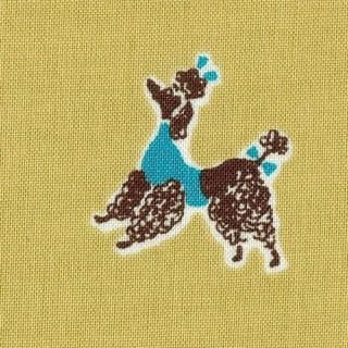 Bon Vivant Dog French Paris Poodle Funky Fabric FQ Aqua
