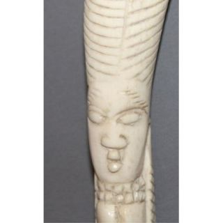 Antique Egyptian Hand Made Carved Bone Pharaoh Figurine