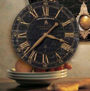 Shabby Vintage Chic Black Crackle Bond Street Gallery Wall Clock 18