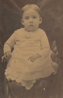 Photo Adorable Little Victorian Baby Boy Seated Hidden Mother