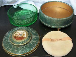 Antique Brushed Aluminum Taylors Blue Bird Powder Box Green Glass