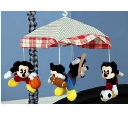 Red Checkered Vintage Sports Mickey Mouse Musical Baby Boy Crib Mobile