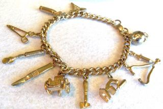Nurses Medical Theme 11 Charms Charm Bracelet Caduceus w Chair Doctor
